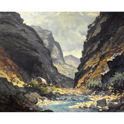 Erich Fleischman ( 1899-1970 ) Paysage De Montagne Animée , Chariot Et Boeufs.