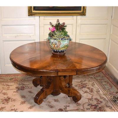 Importante Table - Guéridon  Ovale De Salle à Manger à Rallonges. Palissandre, 5 Allonges, XIX.