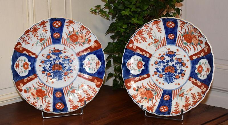 Pair Of Decorative Porcelain Dishes Imari, Japan, XIX.-photo-2