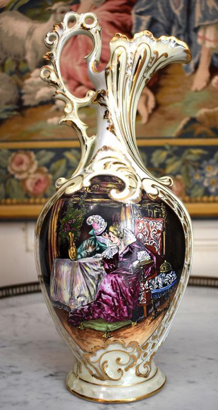 Paire d'Aiguières En Porcelaine De Limoges Décor Renaissance, Peint Entièrement à La Main.-photo-2