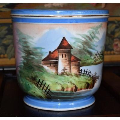 Cache Pot En Porcelaine De Limoges, Peint Main, XIX ème.