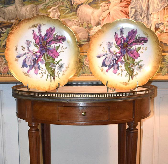 Paire De Grands Plats Décoratifs En Porcelaine De Limoges Décor Floral Peint Main , Fin XIX ème-photo-2