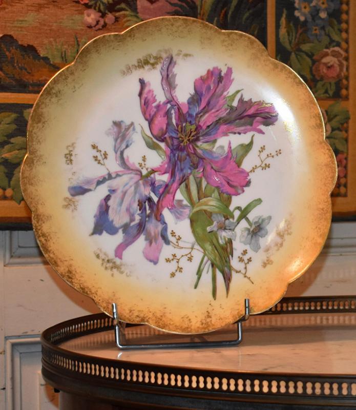 Paire De Grands Plats Décoratifs En Porcelaine De Limoges Décor Floral Peint Main , Fin XIX ème-photo-3