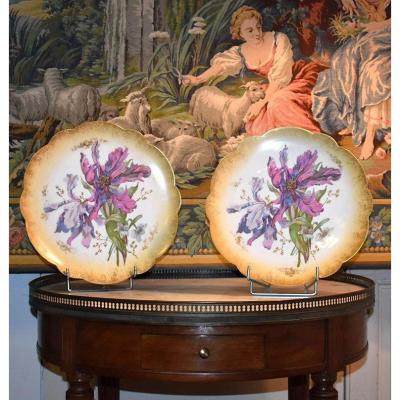 Pair Of Large Decorative Dishes In Limoges Porcelain Hand Painted Floral Decor, Late XIXth