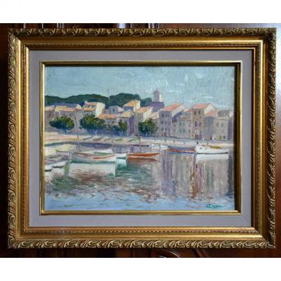 A.deroo, Oil Painting On Panel, Marine Painting Of A Small Mediterranean Port.