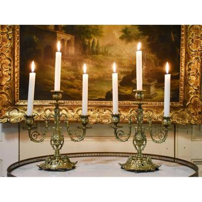 Pair Of Candelabra Three Arms Of Lights, Candlesticks With 3 Lights In Bronze, Candlesticks XIXth.