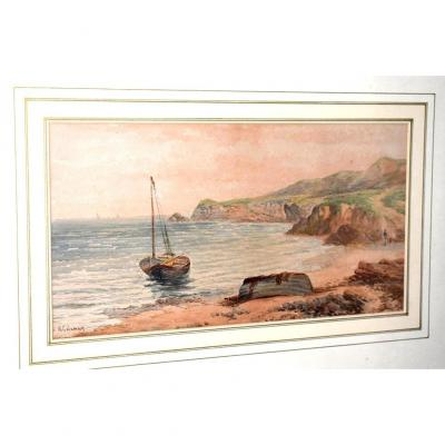 "Aquarelle signée A. Coleman. Marine intitulée : ""Robin Hood'sBay - on the York Shire Coast "".  XIXème."