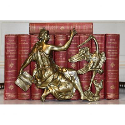 Bronze d'Applique  Décoratif , élément De Décoration Pour Meuble , Femme Antique Et échassier.