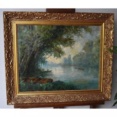 Paysage Animé , Tableau  Bord De Rivière Avec Barques Et Pêcheurs. XIXème.