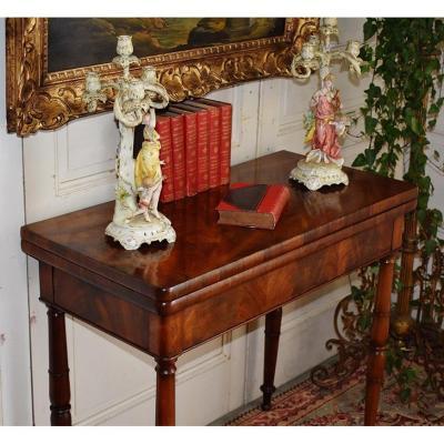 Table à Jeux En Acajou Pouvant Servir De Console. Epoque  Restauration, XIXème.