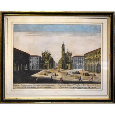 Vue d'Optique De La Place Saint Charles Et La Porte Neuve à Turin. Gravure XVIIIème.
