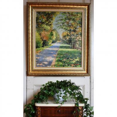 Tableau Paysage Chemin De Campagne, Peinture encadrée  Signée J. Wilder.
