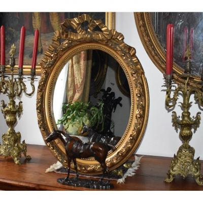 Oval Mirror In Stucco And Golden Wood, Oval Ice Louis XVI Style, Napoleon III Period