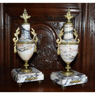 Pair Of Marble And Bronze Cassolettes, Louis XVI Style, Napoleon III Period, XIXth.