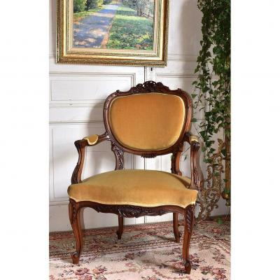 Rockery Armchair In Walnut, Louis XV Style Convertible Late Nineteenth.