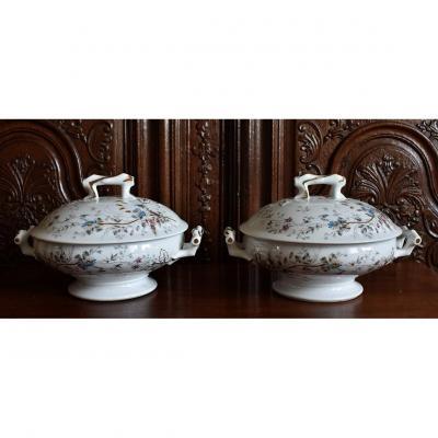 Paire De Légumiers En Porcelaine De Limoges XIXème. Petites soupières.