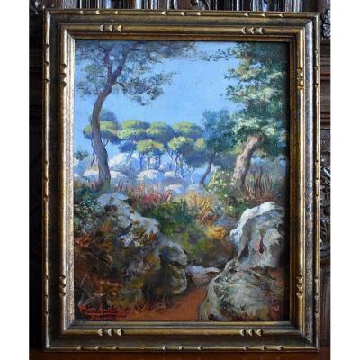 Peinture  Huile Sur Toile De Marc Antoine ,  Tableau  Paysage De Beausoleil Près De Monaco.