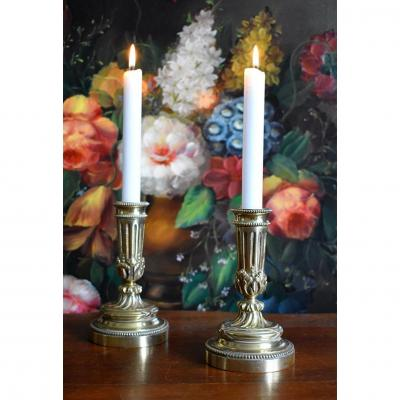 Pair Of Small Candlesticks In Bronze Louis XVI Style, Napoleon III Period.