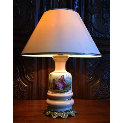 Lamp Base In Limoges Porcelain, Hand Painted, Bouquet Decor And Gallant Scene, XIXth.