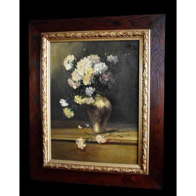 Grande Peinture Encadrée d' Alfred Rouby (1849-1909), Tableau Bouquet De Fleurs Sur Entablement