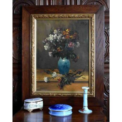 Large Framed Painting Of Alfred Rouby (1849-1909), Table Bouquet Of Flowers On A Table.