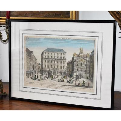 18th Century Framed Optical View, Engraving
