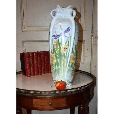 Important Art Nouveau Style Vase, Limoges Haviland Porcelain, Dragonflies And Daffodils