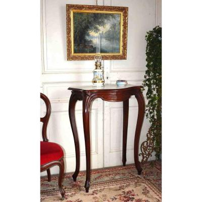 Mahogany Console From Napoleon III Period, Support Furniture, White Marble Top, XIXth.