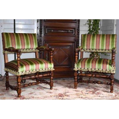 Pair Of Armchairs In Walnut, Louis XIII Style Armchairs.