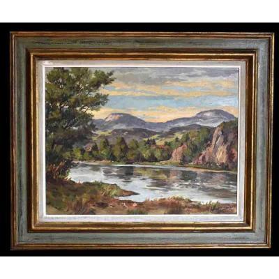 J. Wagner . Paysage Lacustre Sur Fond De Montagne, Datée 1952, Jura, Suisse, Noirmont.