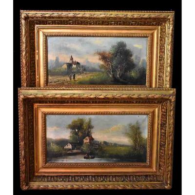 Rodin: Pair Of Paintings, Animated Country Landscape, XIXth,