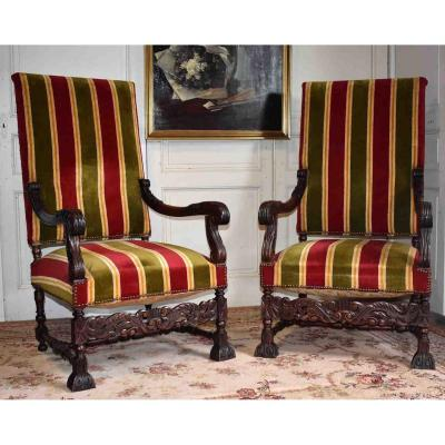 Pair Of Large Renaissance Style Armchairs