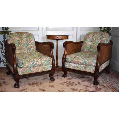 Pair Of Caned Bergères, English Armchairs In Chippendale Style.