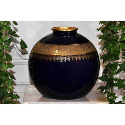 Tharaud - Barny, Limoges Porcelain Ball Vase, Oven Blue And Double Gold Inlay