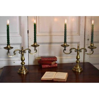 Pair Of Candlesticks, Candlesticks With 2 Arms Of Light, Bronze And Brass Candelabra