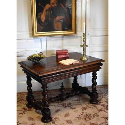 Desk, Louis XIII Style Table In Walnut, Twisted Feet, XIXth.