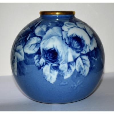 Limoges Porcelain Ball Vase, Shades Of Blue, Roses Decor, Hand Painted.