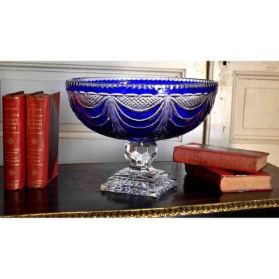 Grande Coupe  Sur Pied En Cristal  Ciselé , Bleu , Cristallerie De Lorraine Lemberg ( 1925 - 1997 )