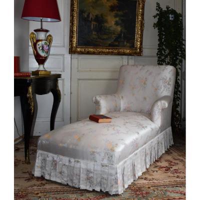 Sofa Napoleon III, White Silkened Fabric