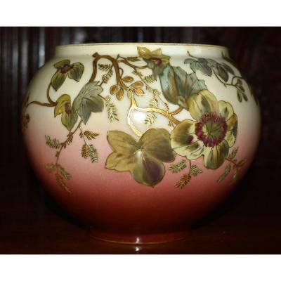 Léon Sazerat (1831-1891) Limoges Porcelain Ball Vase, Hand Painted With Gold Paste Decor.