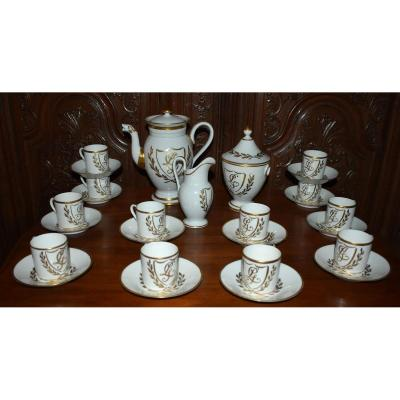 Limoges Porcelain Coffee Service, Lg Monogram And Laurel Decor.