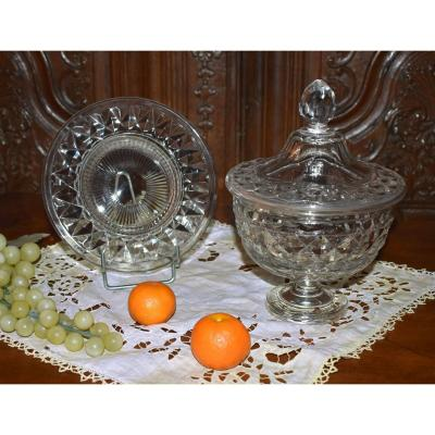 Crystal Drageoir And Its Display - Cup, Baccarat Crystal Fruit Bowl,