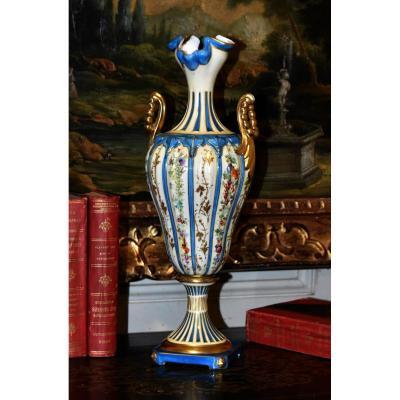 Vase Balustre Sur Pied - Douche Dans Le Goût De Sèvres, Peint Main.