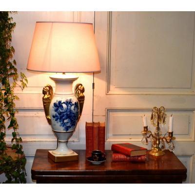 Importante Lampe En Porcelaine De Limoges, Camaïeu De Bleu Et Or Fin, Décor Floral Peint Main