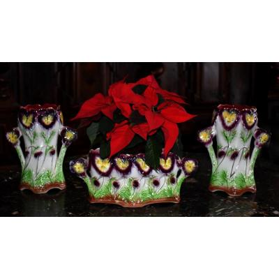 Onnaing Three-piece Barbotine Trim. Planter And Vases, Pansies Decor.