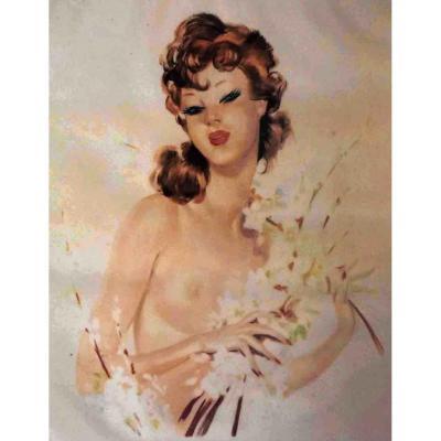 """Elégante d'Eugène Leliepvre. Pour """"l'élégance nue"""" Grande  Lithographie encadrée femme au bouquet de fleurs."""