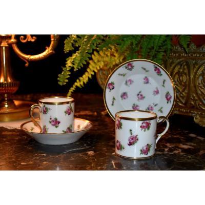 """Paire De Tasses """"litron"""" de collection, porcelaine de Limoges, décor roses de limoges, peint main."""