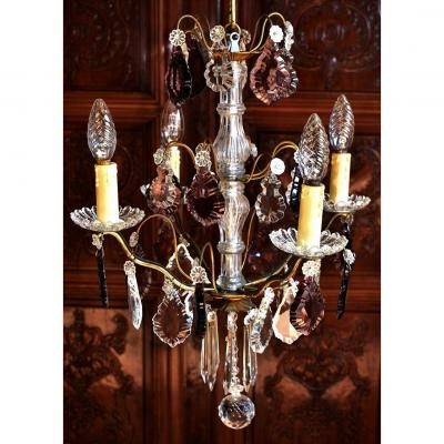 Chandelier With Tassels And Pendeloques, Four Arms Of Light, Mauve Color.