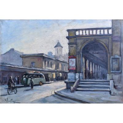 Paul  Audfray (1893-1957) né et décédé à Angers,  Scène De Rue Animée Avec Fourgon Peugeot D3