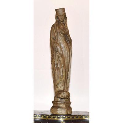 Statue Religieuse En Plâtre Patiné , Vierge à La Croix.